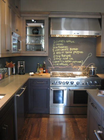 Chalkboard backsplash.