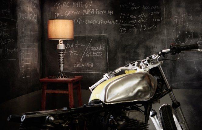 recycled motorcycle lamp | Kitchann Style