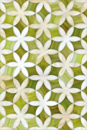 Chartreuse Mosaic Flower Tile   KitchAnn Style