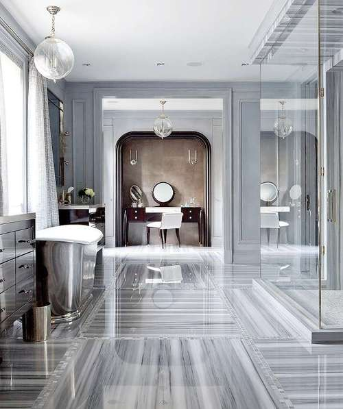 Grey And White Marble Bathroom: Kitchen Studio Of Naples, Inc