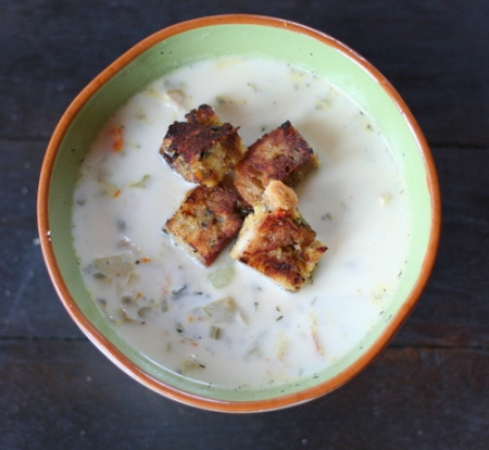 Creamy Turkey & WIld Rice Soup with Toasted Stuffing Croutons