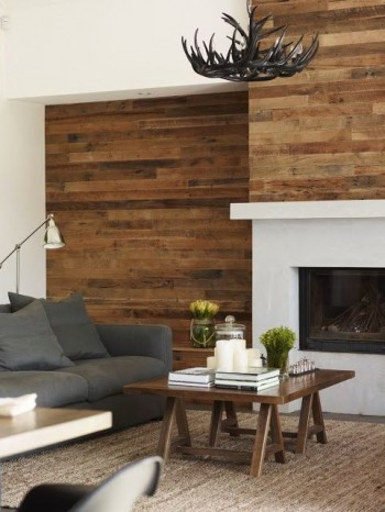 Rustic plank fireplace idea|KitchAnn Style