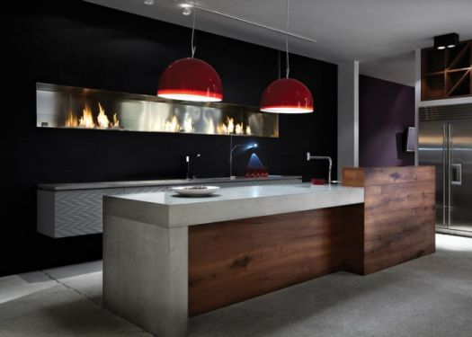 ethanol linear bruners placed high in kitchen