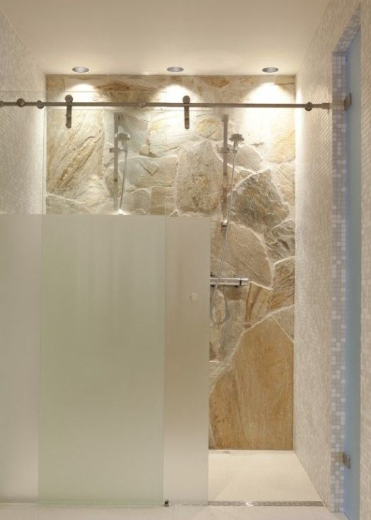 Partial frosted glass shower | KitchAnn Style
